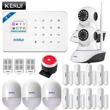 Kerui sistema de alarme de segurança residencial, wi fi gsm sistema de alrme de segurança contra assalto, câmera ip controle residencial, detector de movimento pir, alarme detector