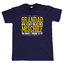 Grandad Mischief Mens Funny T Shirt, Birthday Fathers Day Christmas Gift New Shirts Tops Tee free shipping
