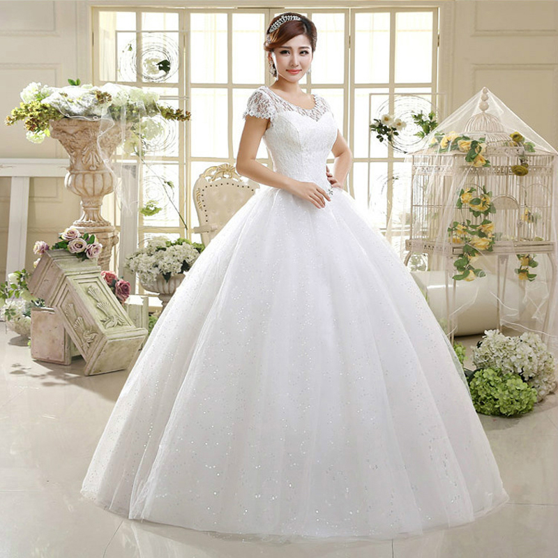 Ball Gowns Short Sleeves O Neck Ivory Organza Wedding Dresses 2018 with Beads Bridal Dress Marriage Customer Made Sizes