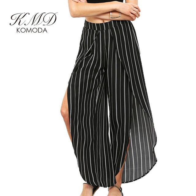 KMD KOMODA Outono Tarja Mulheres Chffion Pant Escavar Alta cintura das Mulheres Calças Casual Solto Dividir Perna Larga Calça Para feminino