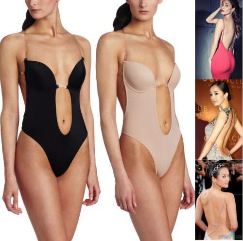 Women's Bodysuits Machine Body Shaper Even The Body Suit Underwear Women Sexy Clear Strap Deep Thong Backless Push Worsted Pad