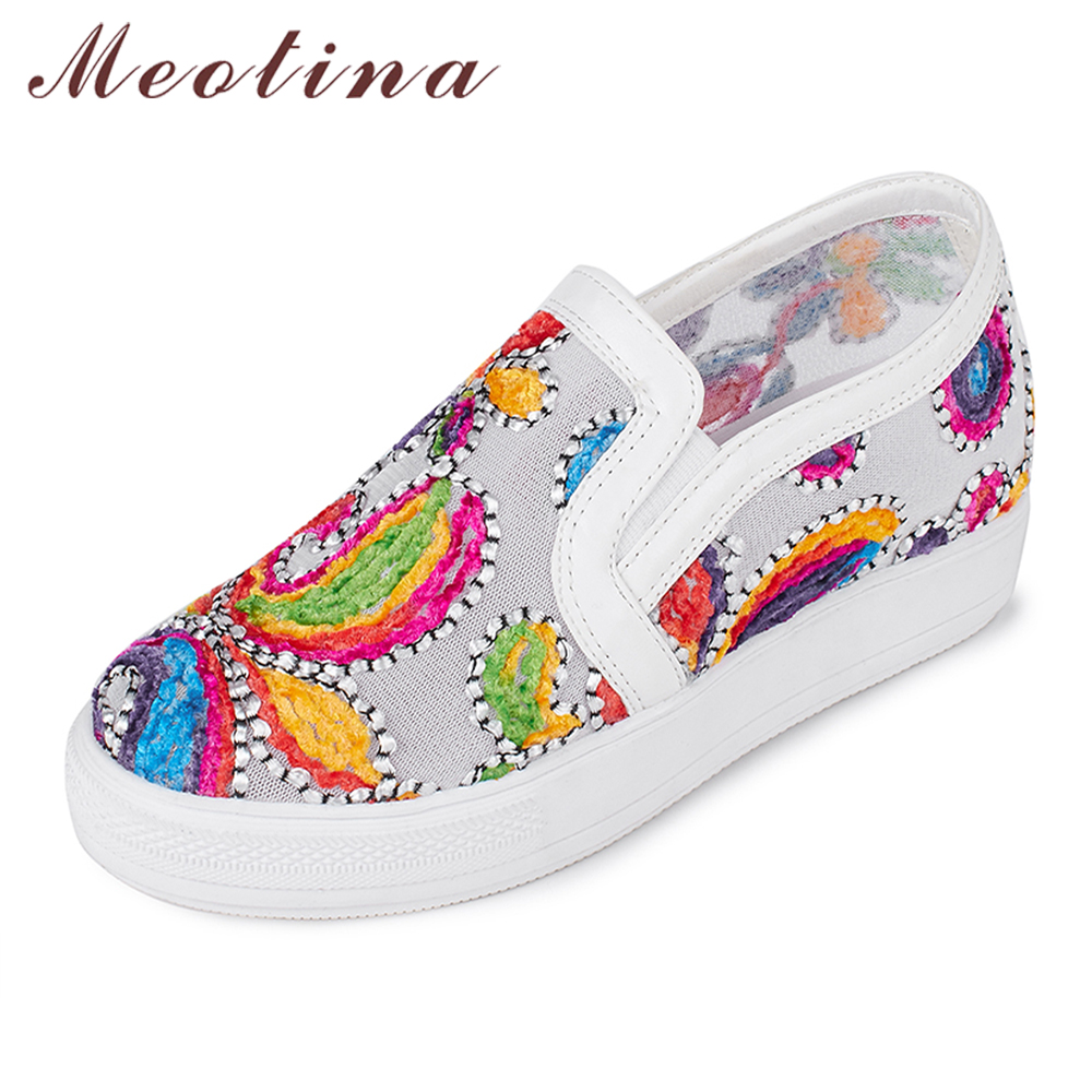 Meotina Shoes Women Loafers Casual Flats Slip On Female Shoes Plus Size 43 44 Embroidered Ladies Flat Shoes White zapatos mujer akexiya casual women loafers platform breathable slip on flats shoes woman floral lace ladies flat canvas shoes size plus 35 43
