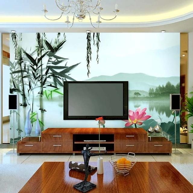 Latar Belakang Tv Wallpaper Ruang Tamu Retro Lukisan Tinta Cina Mural Besar