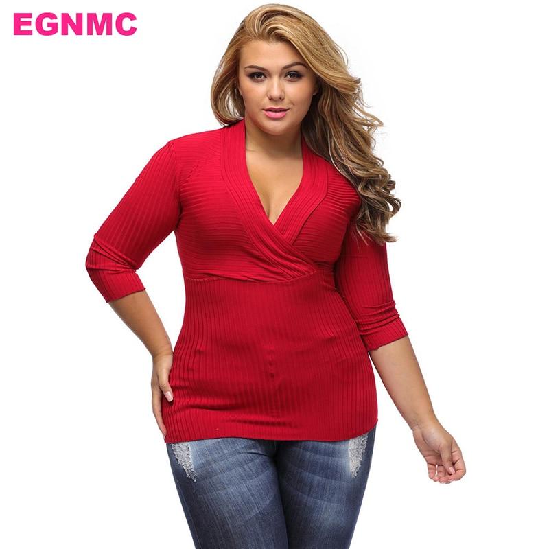 Egnmc Plus Size Oversize V Neck Women Autumn Winter -9620