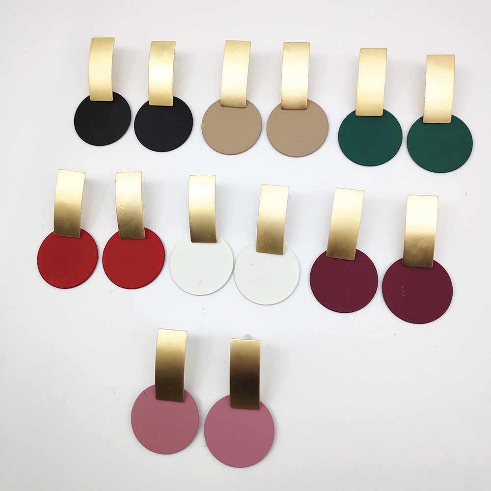 2018 Fashion Geometric Square Round Coin Earrings For Women Drop Earrings 7 colour Matte gold geometric earrings A652-A658