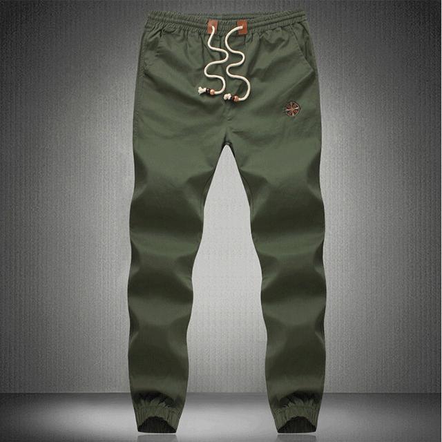 Nova Moda Plus Size Calças Dos Homens homens do Algodão do Ajuste dos homens Sweatpants jogger calças estilo verão Calças Calças M ~ 5XL cáqui de carga