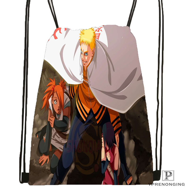 Custom Anime Naruto Drawstring Backpack Bag Cute Daypack Kids Satchel (Black Back) 31x40cm#180531-02-64