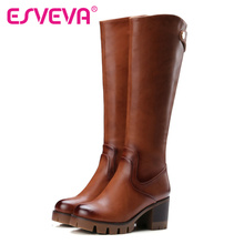 ESVEVA 2016 British Style  Knee High Boots Round Toe Black PU+leather Square High Heel Women Boots Autumn Punk Shoes Size 34-42