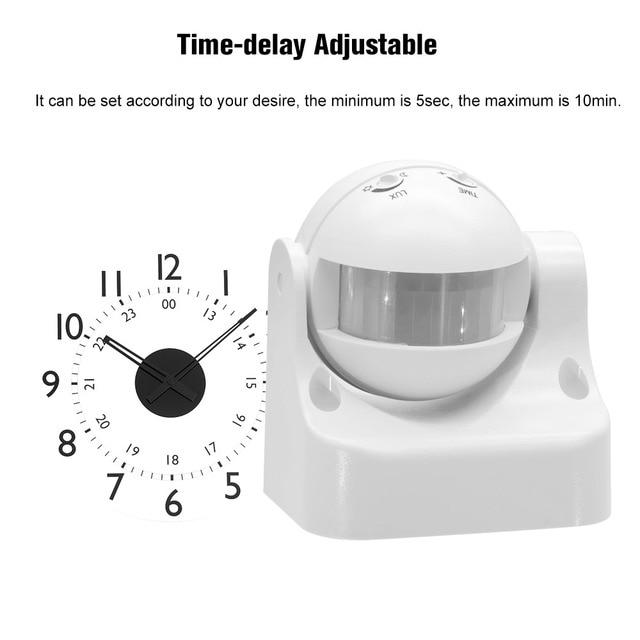 Detector de movimento infravermelho do interruptor do sensor de pir da segurança exterior max 12m 3 2000lux interruptor de iluminação automático de poupança de energia