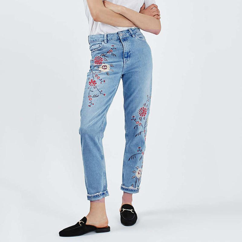 Embroidery Jeans Demin-Pants Women Flower Ankle-Length Vintage Plus-Size Casual Straight