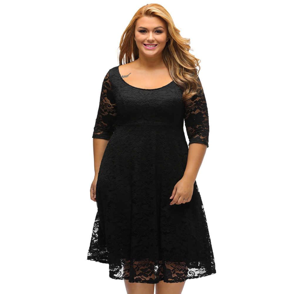 XXXL Plus Size Elegant Party Dresses Women Lace Dress Floral O-Neck A-Line bf8461ce2634