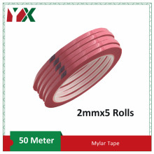 YX 5Rolls 2mm Wide Adhesive Insulation Mylar Tape 50 Meter for Transformer, Motor, Capacitor, Coil Wrap, Anti-Flame