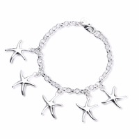 HERMOSA sieraden Fashion leuke Stempel 925 Zilveren Ketting groothandel zeester vorm kleine hanger Armband SL000136