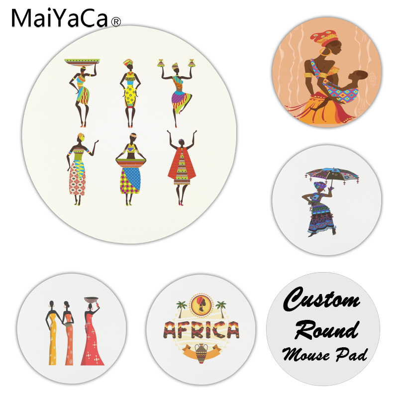 MaiYaCa Cool New African women Customized laptop Gaming mouse pad Size for 200x200x2mm and 220x220x2mm Round Mousemats