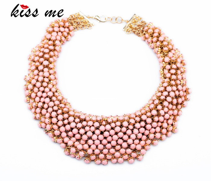 New Styles KISS ME Fashion Jewelry Pink Resin Handed Beaded Bubble Necklace джеггинсы kiss pink