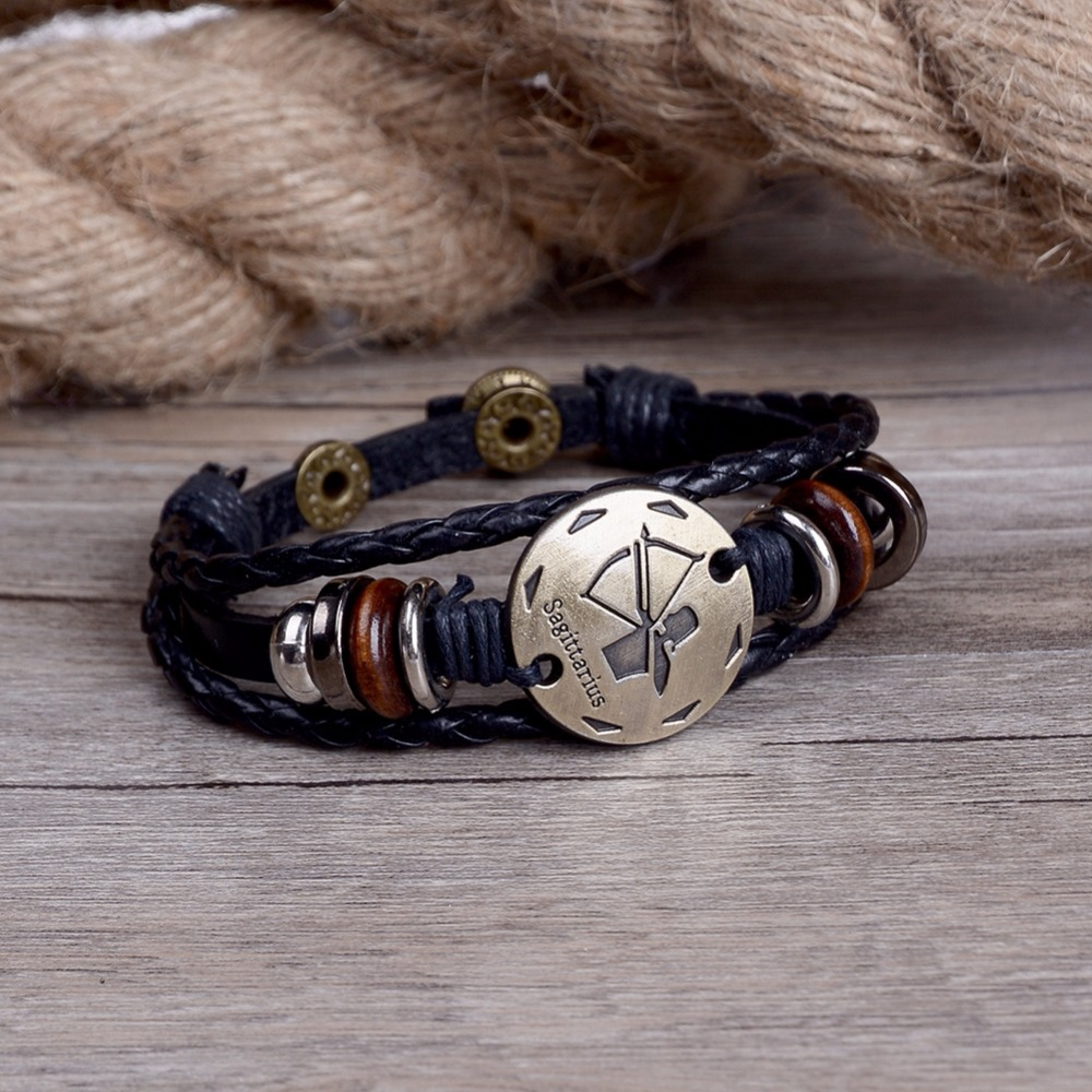 1Pc Retro Style Black Color Leather Braided Wrap Bracelet Multilayer Wristband Cuff Bangle Fashion Jewelry Gift for Men