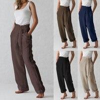 Celmia 2019 Summer Vintage Wide Leg Trousers Women High Waist Loose Lace Up Causal Linen Harem Pants Pantalon Palazzo Plus Size