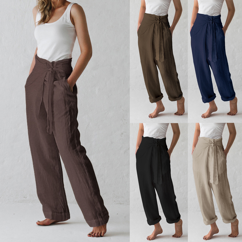 Celmia 2020 Summer Vintage Wide Leg Trousers Women High Waist Loose Lace Up Causal Linen Harem Pants Pantalon Palazzo Plus Size