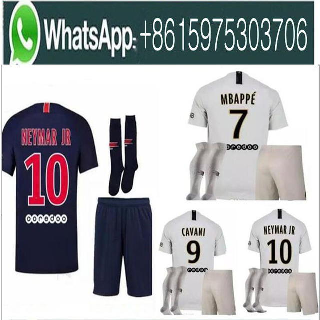 a303ff14 18 19 MBAPPE PSG soccer jersey uniform set 2018 2019 Paris CAVANI saint  germain DANI ALVES Maillot De Foot away white Football S