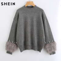 SHEIN Rhinestone Ans Faux Fur Embellished Cuff Jumper Grey Crew Neck Casual Pullovers Autumn Elegant Long