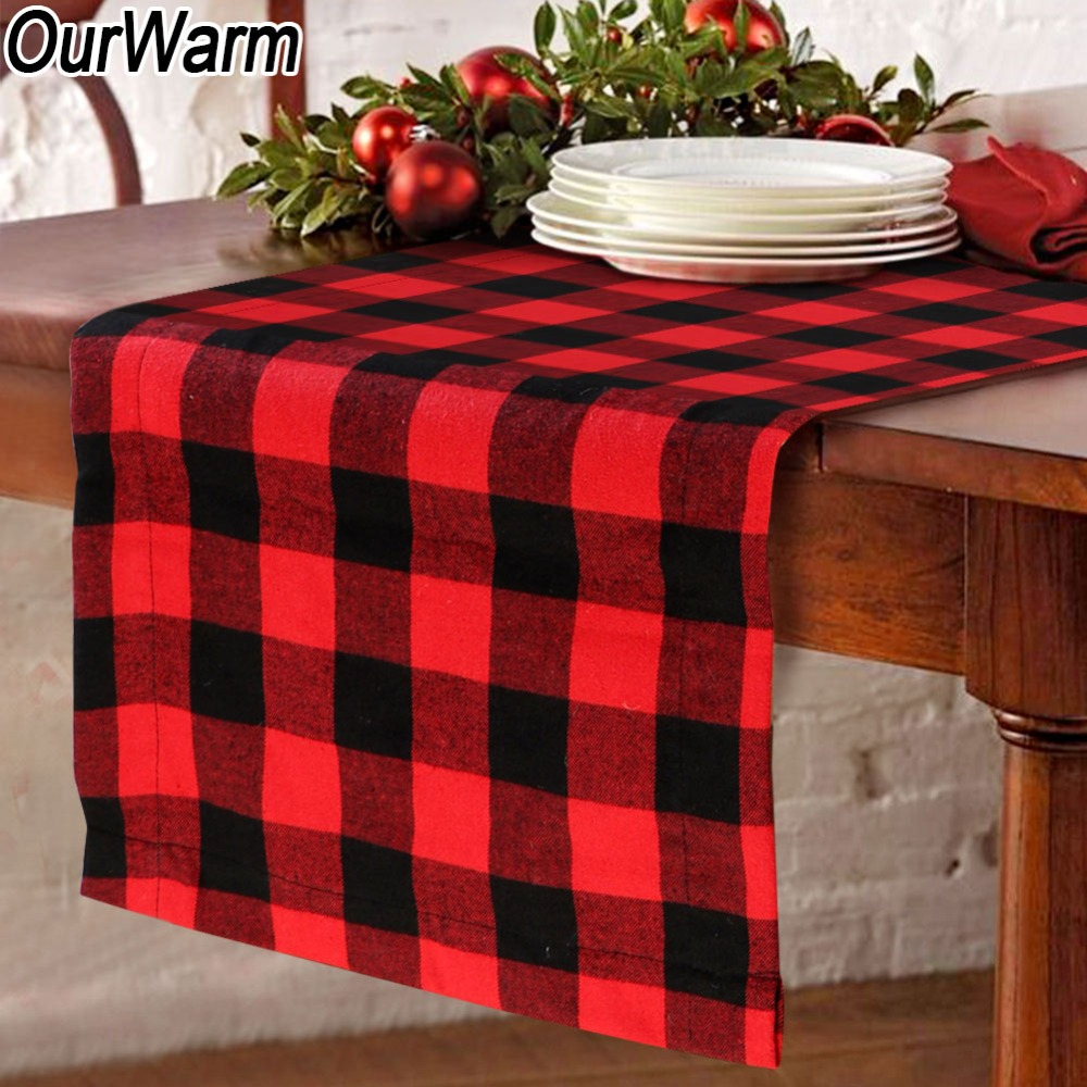 OurWarm Buffalo Plaid Burlap Table Runner Double-sided Print Cotton Table Runner Woodland Themed Christmas Decoration for Home plaid