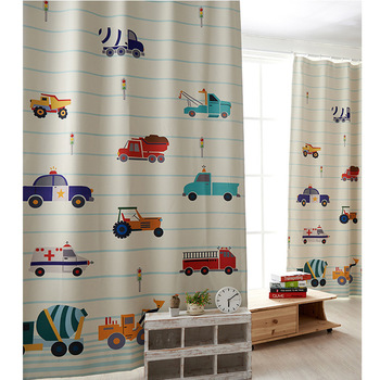 free shipping new Korean version of the cartoon car printing finished curtains curtain