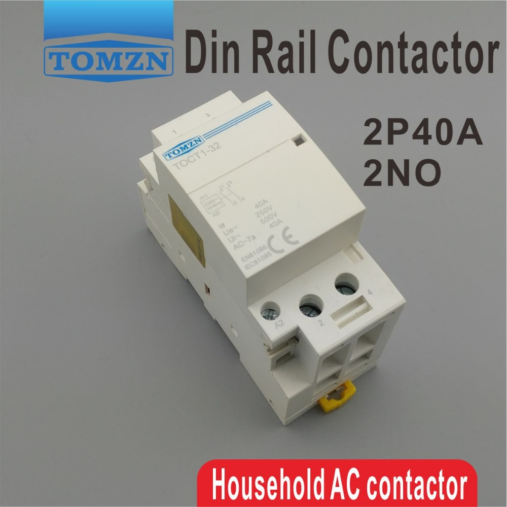 CT1 2 p 40A 220 v/230 v 400V ~ 50/60 hz Din rail ac Domestique Modulaire contacteur 2NO