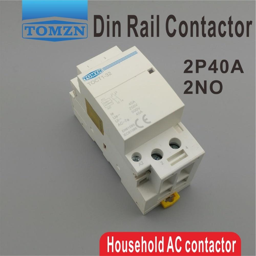CT1 2P 40A 220V/230V 400V~ 50/60HZ Din rail Household ac Modular contactor 2NO