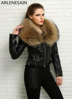 Arlenesain custom women's genuine sheep leather gorgeous trim pastel jacket with raccoon fur collar