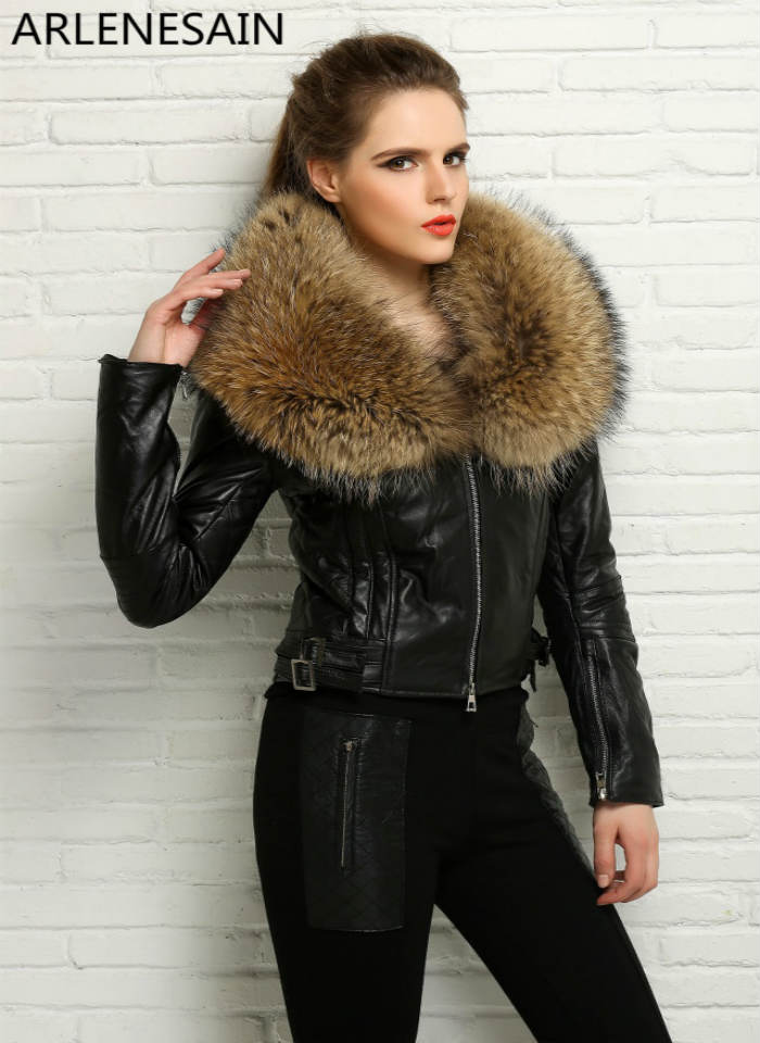 Arlenesain custom women's genuine sheep leather gorgeous trim pastel jacket with raccoon fur collar