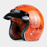 New Arrival TORC Vintage Motorcycle Helmet Retro Scooter Helmet Red Skull Open Face Helmet DOT Approved