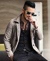 2016 Осень искусственная кожа воротник-стойка мужские коричневые короткие двубортный военная куртка Slim fit jaqueta masculina