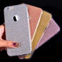 Ultra fina caso de cristal glitter bling doces bonito capa para iphone 6 Gel macio TPU Casos de Telefone Para O Caso iPhone6 6 S 6 Mais 6 SPlus