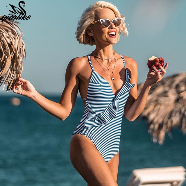 4a1271772df0d One-piece Swimsuit Women Ruffle V-neck Monokini 2019 New Girls Beach Bathing  Suit
