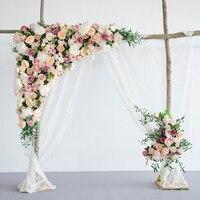 1.6 м x 1.6 м белый с розовыми розами зеленая трава свадебный цветок стены искусственный шелк цветок фон Свадебные украшения