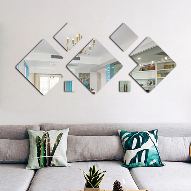 3d Acrylic Mirror Effect Wall Stickers Living Room Decoration Diy