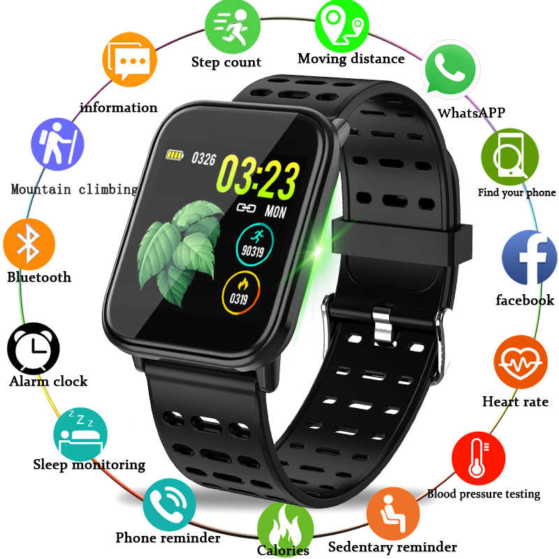 Ini Smart Sport Watch Tahan Air Watch Tekanan Darah Heart Rate Monitoring HD Penuh Layar Sentuh Smart Gelang untuk Android IOS