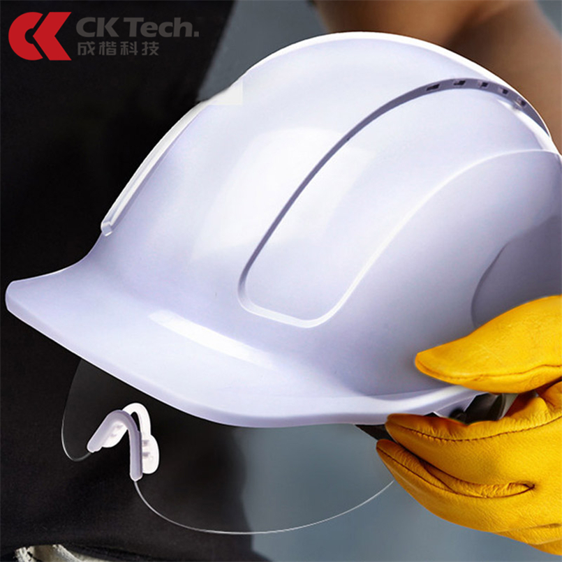 CK Tech. Safety Helmet With PC Glasses Hard Hat ABS Construction Protective Helmets Work Cap Engineering Power Rescue Helmet