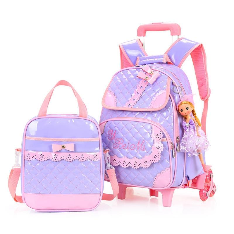 Venta caliente niñas princesa estilo 3 ruedas mochila escuela bolsa set 2019 nuevo impermeable PU cuero carretilla escuela bolso chica mochila - 5