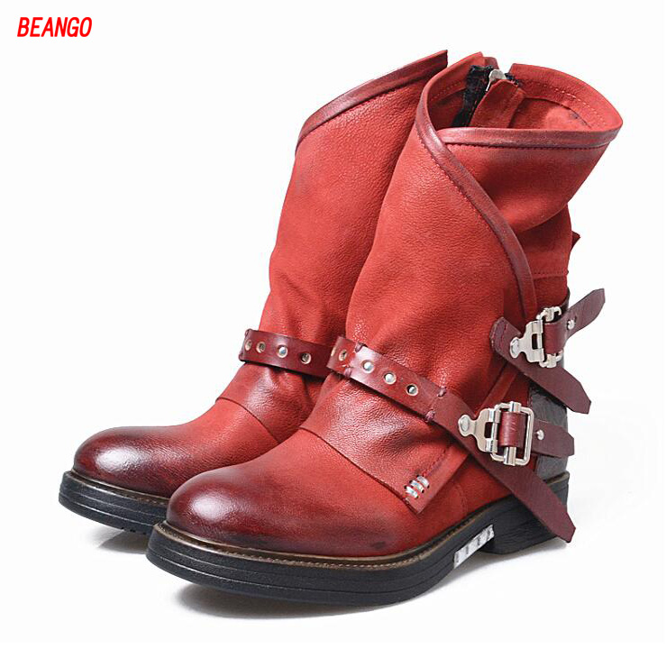BEANGO 2017 New Women Boots Belt Buckle Decoration British Martin Boots Genuine Leather Do Old Low Heels Boots Warm For Female 2017 winter new british bullock women martin boots female short boots low head sleeve knight women boots