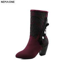 NEMAONE Elegant high heels mather boots ladies mid-calf boots woman wedding party shoes winter warm women boot large size 43