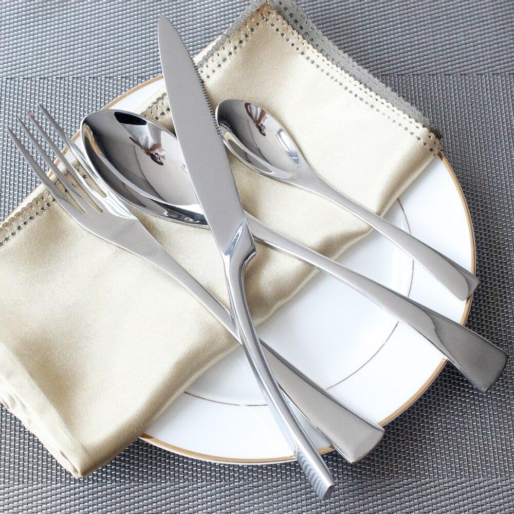 4pcs Set Stainless Steel Tableware Cutlery Sets Mirror