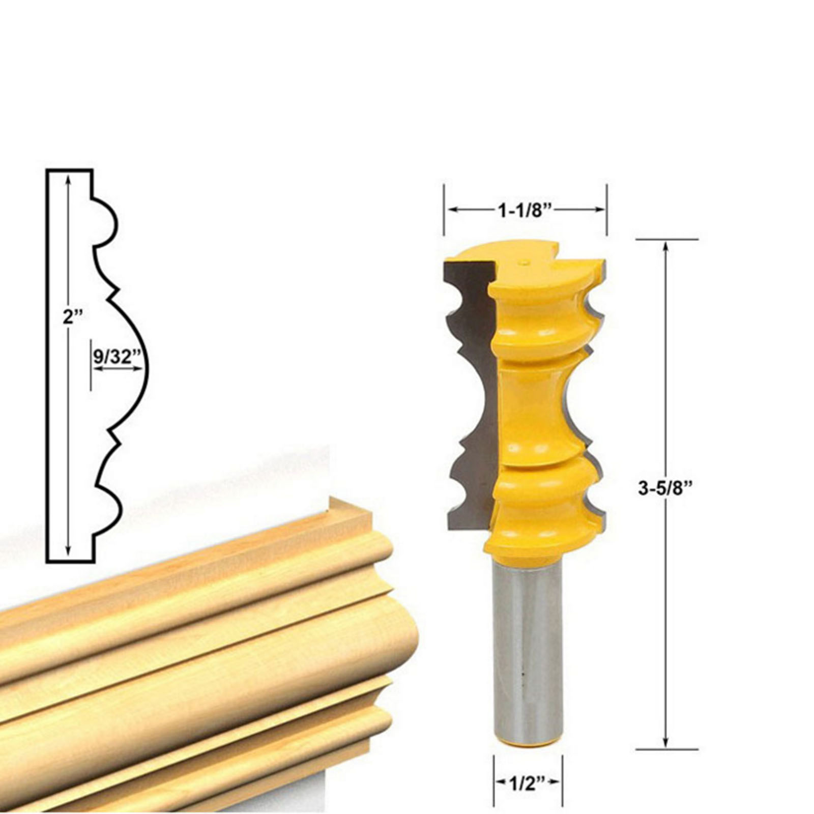DRELD 1Pc 1/2 Shank Carbide Rail Molding Router Bit Woodworking Milling Cutter Cabinet Plywood Wood Cutting Bit Carpentry Tools 16pcs carbide ball blade woodworking milling cutter molding tool beads router bit drills bit set 14 25mm