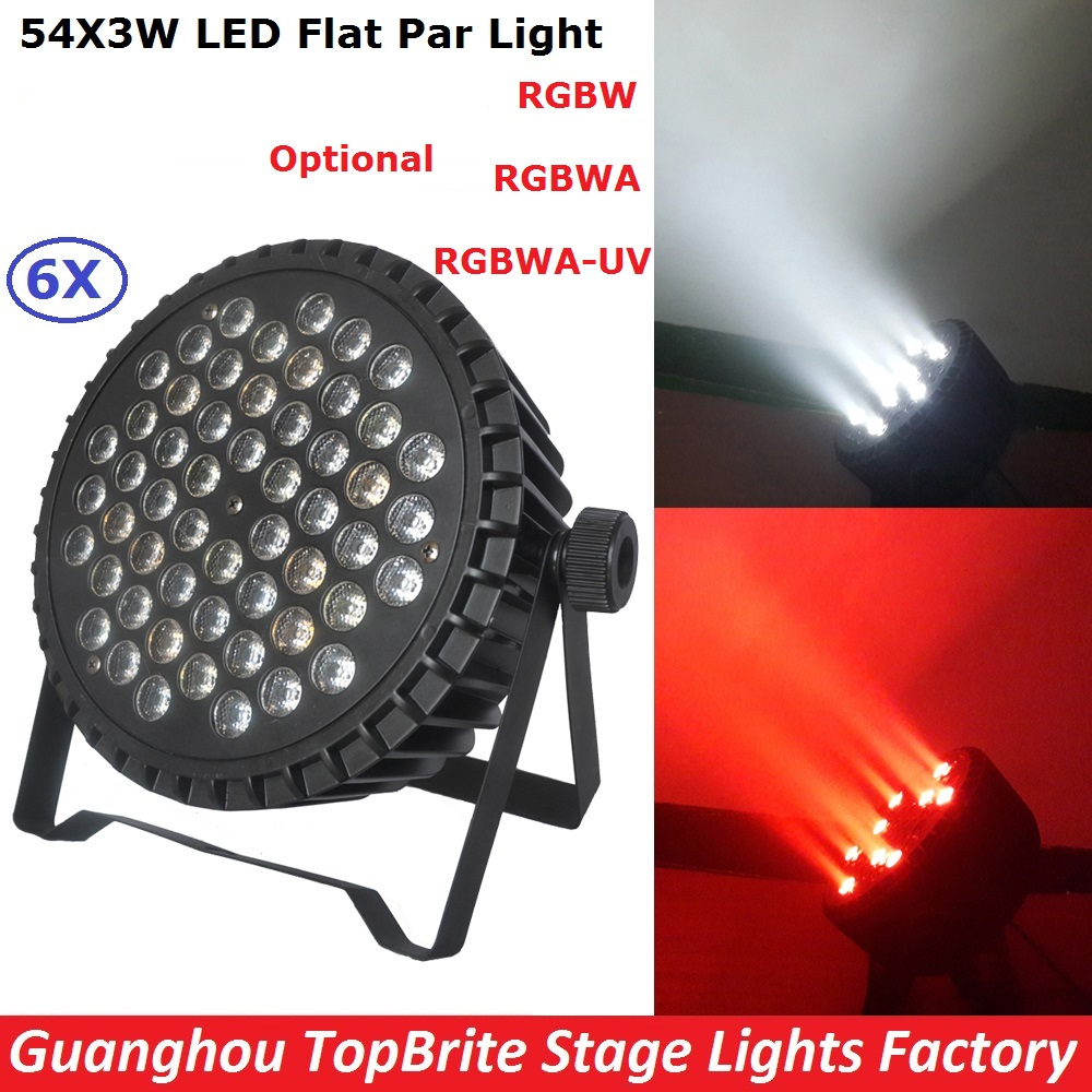 6Pcs/Lot New Professional LED Stage Lights 54X3W RGBW Single Color LED Flat Par Lights With 8/9 DMX Channels For DJ Disco KTV tw 4a single stage 4 l rotary vane type portable vacuum pump with a single stage