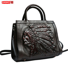 1340ec8caf4 Handgemaakte vintage persoonlijkheid Indian avatar Vrouwen handtassen suede  lederen slingerde vrouwelijke schoudertas retro messenger bag(