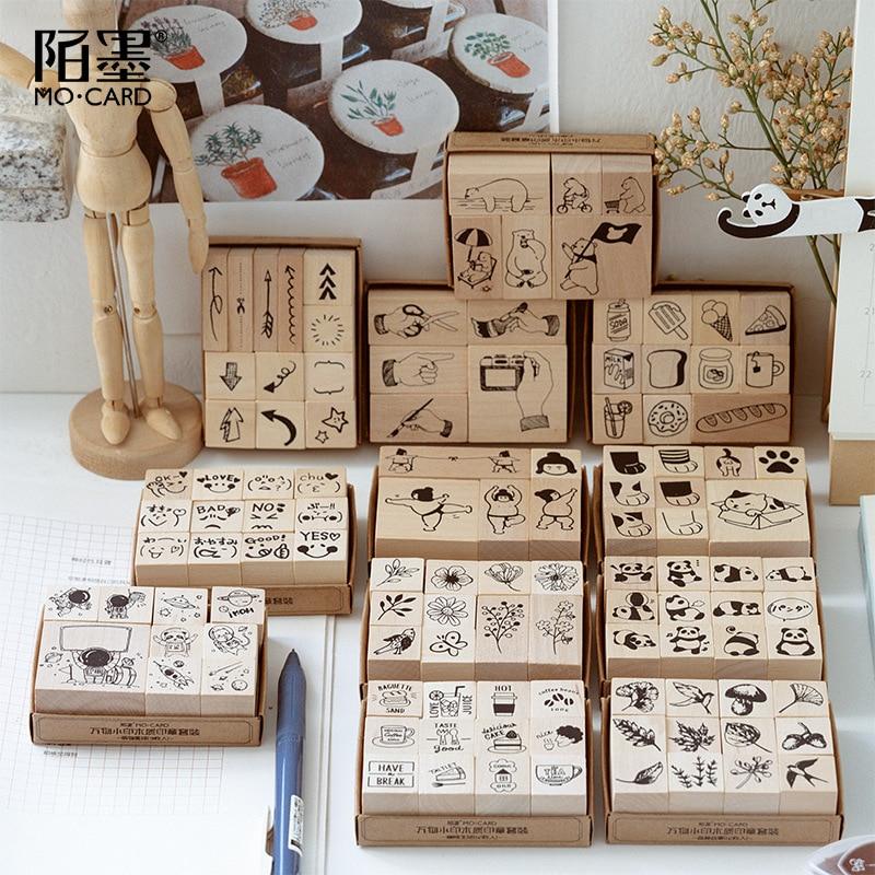 Vintage Cat Bear Panda Animal's Life Stamp DIY Wooden Rubber Stamps For Scrapbooking Stationery Scrapbooking Standard Stamp