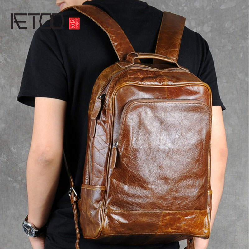 AETOO Retro oil wax male leather backpack backpack bag head layer cowhide simple computer bag leisure travel aetoo leather shoulder bag head layer cowhide backpack retro art college wind bag leisure travel