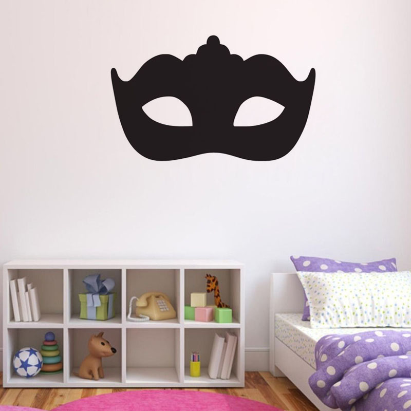 Modern Masquerade Mask Wall Stickers Headboard Decorative Black Vinyl Self Adhesive Art Bedroom Wall Decal