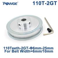 POWGE 110 zęby 2GT koło rozrządu otwór 6/6. 35/8/10/12/14/15/16/19/20/22/25mm dla GT2 pas synchroniczny szerokość 6/10mm 110 zęby 110 T w Koła pasowe od Majsterkowanie na