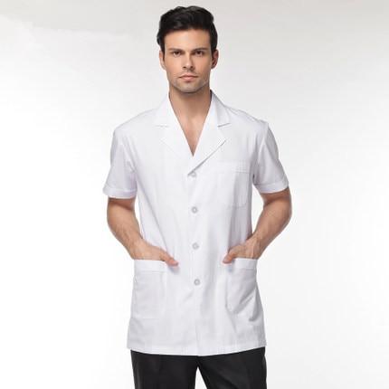 pánské bílé Zdravotní oděv Lékařské služby Uniformní oděv sestry Polyester s krátkým rukávem Chraňte laboratorní plátěné látky